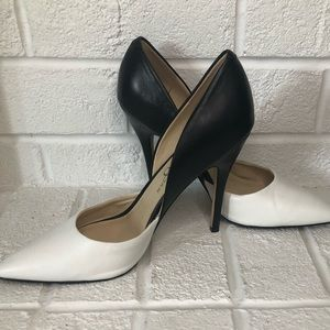 Charly Amar Black and White Leather Heels